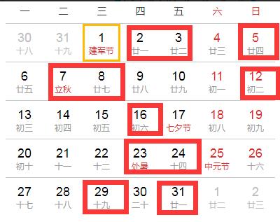 2018年8月適合搬家的黃道吉日